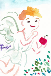 2020年10月27日の天使(夜)「いたずら天使、りんごを持って」