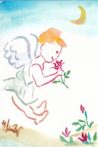 2020年11月1日の天使(昼)「薔薇の薫りを嗅ぐちっちゃい天使」7/100