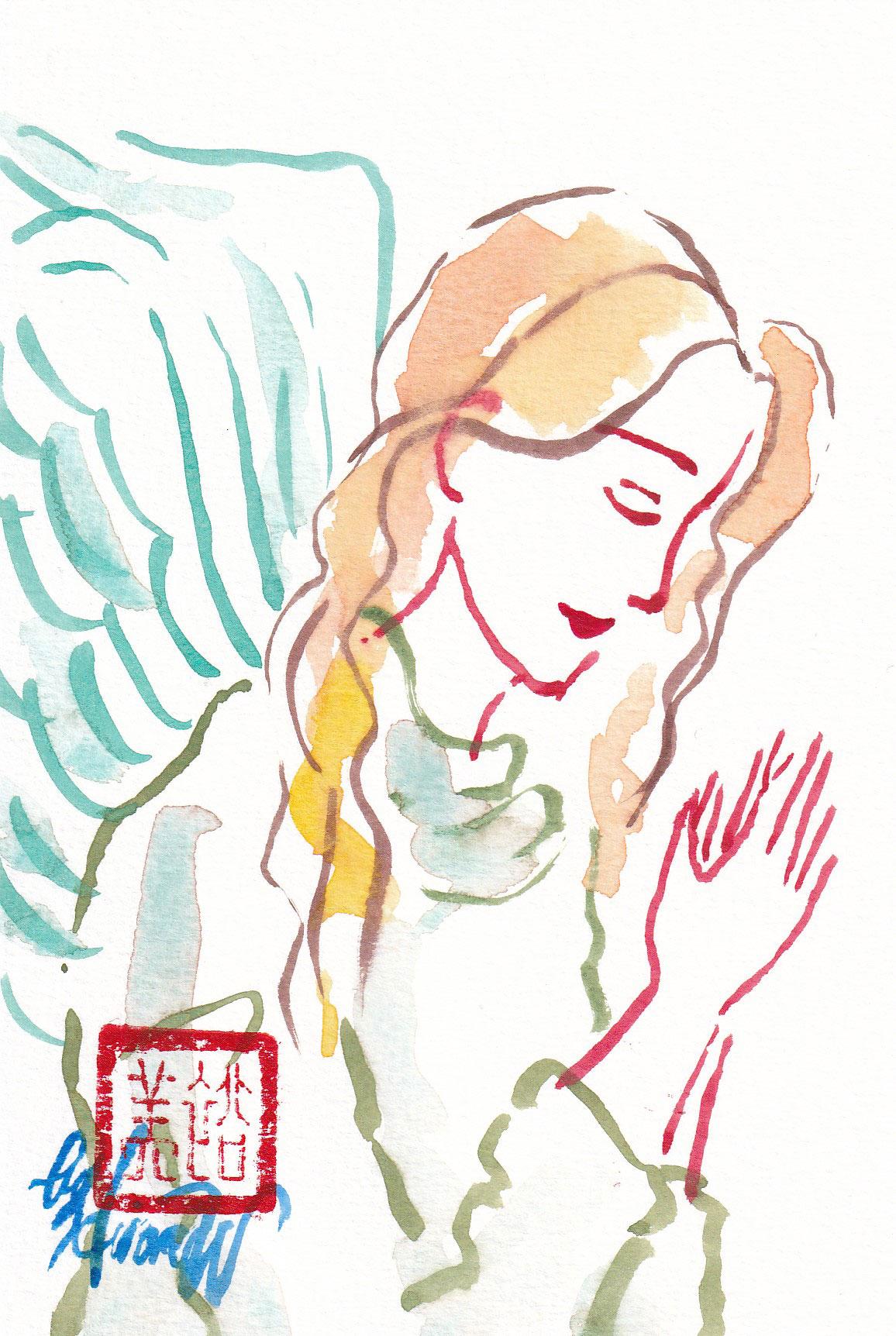 2020年11月4日の天使(朝)「横顔の天使の祈り」10/100