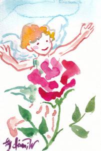 2020年11月14日の天使(夜)「薔薇の薫りをかぐちっちゃい天使」20/100