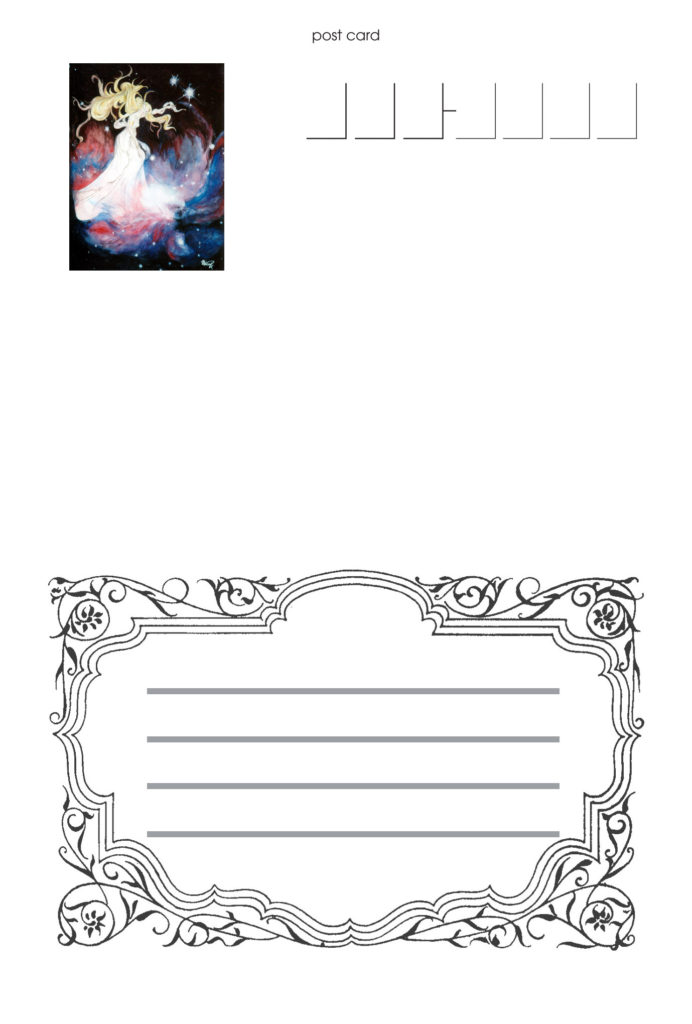 個展ご来場者に差し上げた記念のポストカード・通信面