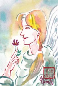 2020年12月9日の天使(夜)「A red flower」45/100
