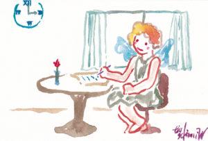 2020年12月12日の天使(夜)「ビザを書くちっちゃい天使」杉原千畝生誕120年*命のビザ発行80年記念 48/100