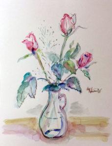 薔薇の水彩画